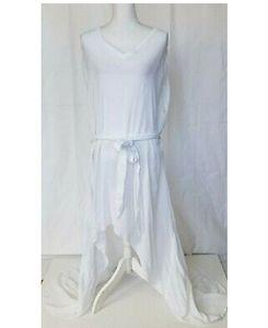 Anthropologie White High Low Gauze Dress Medium